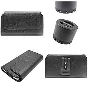 DMG Durable Cell Phone Pouch Carrying Case with Belt Clip Holster for Samsung Galaxy V Plus (Black) + Wireless Bluetooth Speaker with Mic and microSD Support