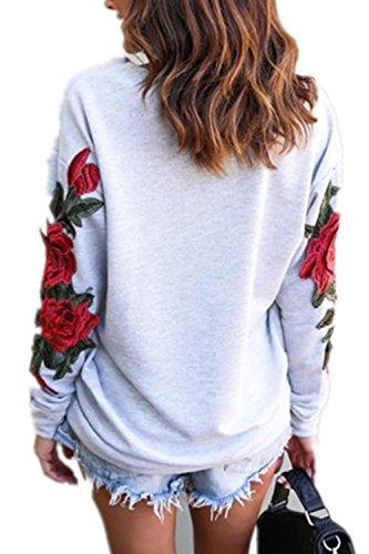 Les Femmes À Long Manche Une Épaule Patchwork Floral Occasionnels A Trou Pull - Over Lâche Sweat - Shirt Haut De La Page Grey