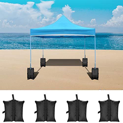 Neewer 4 pacchetti pesi di ancoraggio, sacchi di sabbia per gambe di gazebo,tenda, parasole rifugio esterno 49 x 40 x 42 centimetri (nero, borsa vuota)