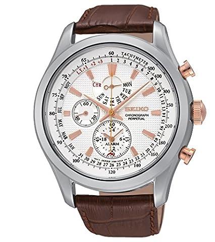 Seiko - SPC129P1 - Montre Homme - Quartz Chronographe - Chronomètre/Alarme - Bracelet Cuir Marron