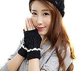 TININNA Winter Warm Gestrickte Spitze Langen Handschuhe Armstulpen Pulswärmer Handstulpen Armwärmer für Damen Mädchen schwarz