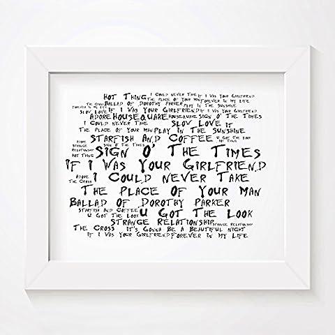 'Noir Paranoiac` Poster Affiche d'art - PRINCE - Sign O' The Times - Edition signée et numérotée limitée typographie non encadré 20 x 25 cm la musique album mur art haute qualité d'impression - Song lyrics music poster