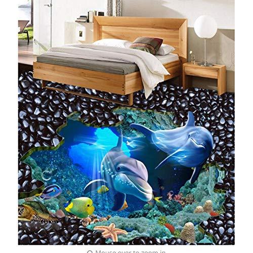 Rureng 3D-Tapeten Für Wandbemalung Unterwasserwelt Shark Benutzerdefinierte Vinyl 3D-Boden Selbstklebende Wasserdichte Pvc-Tapete-450X300Cm
