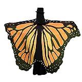 WOZOW Damen Schmetterling Flügel Kostüm Nymphe Pixie Faschingkostüme Umhang Schals Poncho Kostümzubehör Zubehör (Orange)