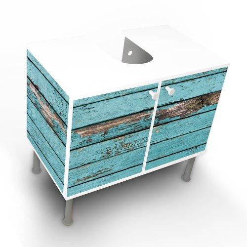 Waschbeckenschrank Unterschrank Badschrank 60x55x35cm mit Motiv: Blaue Holzlatten
