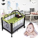 BABLE Lit parapluie Lit de voyage - Playard bébé - Parc pliant pour bébé - 100 x 70 cm - avec matelas / Hamac / Poche de rangement / Barre à jouets et sac de transport sur roulettes - Vert+Noir