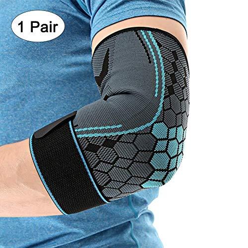 Archir 1 Paar Ellenbogen Unterstützung Sleeves Unterstützt Tennis Golfers Gewicht Tendonitis Joint Pain Relief Sports Ellenbogenbandage Compression Sleeve Elastic (Color : Blue(Pair), Size : L)