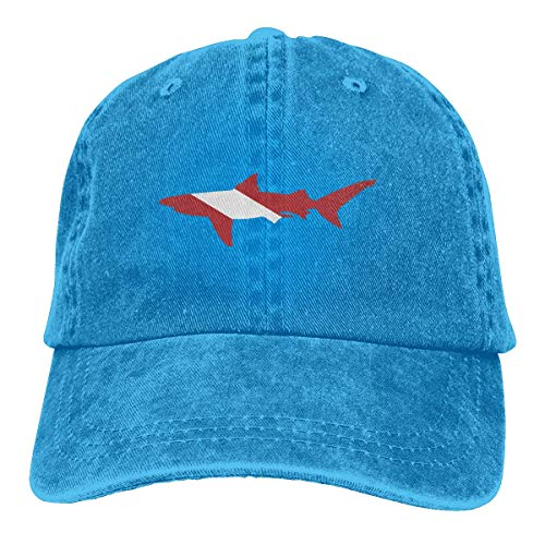 Baseball Caps für Herren/Damen,Golf-Kappen,Shark Scuba Diving Flag Men's Women's Adjustable Jeans Baseball Hat Yarn-Dyed Denim Trucker Hat Sports Cool Youth Golf Ball Unisex Cowboy hat fedora beach h