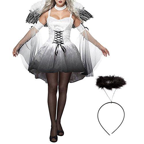 iShine® Damen Dark Angel Kostüm Kleid Kopfschmuck und (Angel Kostüme Erwachsene Frauen Dark)