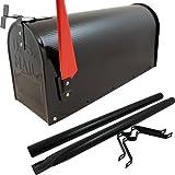 US Mailbox Amerikanischer Briefkasten Standbriefkasten Wandbriefkasten Letterbox Schwarz Inclusive Standpfosten