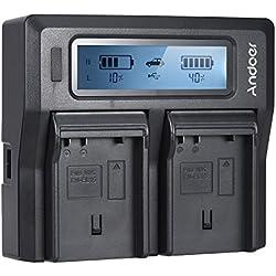 Andoer EN-EL15 Dual Channel Chargeur de batterie appareil photo numérique W/LCD pour Nikon D500 D610 D7000 D7100 D750 D800 D810 D7200