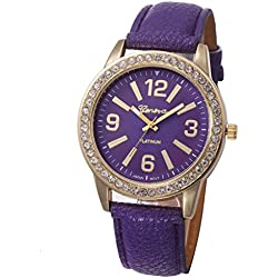 WINWINTOM Women Stainless Steel Analog Leather Quartz Wrist Watch Purple