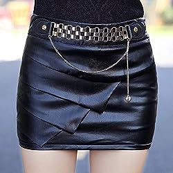 Falda de cuero de la PU Negro apretado,S