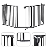 Todeco - Safety Gate, Adjustable Gate for Fireplace - Folded size: 80 x 68 x 14 cm - Material: Plastic - 300 x 75 cm (118.1 x 29.5 inch) unfolded