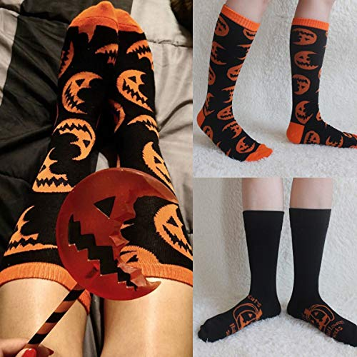 Frau/Mann-Kürbis-Muster-Spaß-Neuheit-beiläufige Socken weiche Breathable Socken für Festival Halloween (Color : Half-Moon Pattern)
