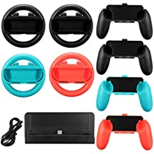 Rishil World 10 In 1 Charging Stand Controller Grip Holder Steering Wheel For Nintendo Switch