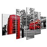islandburner Bild Bilder auf Leinwand London Szene mit Doppeldecker Bus und Telefonzelle Poster, Leinwandbild, Wandbilder