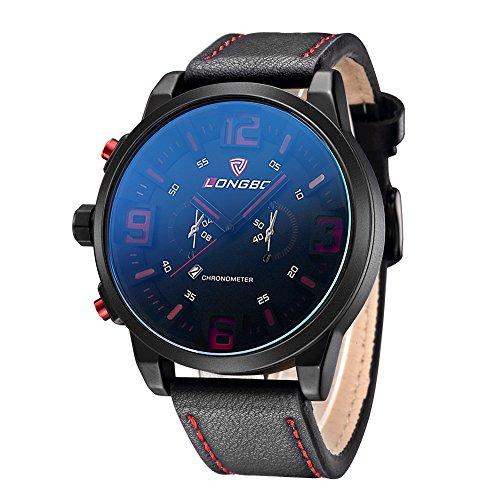 iLove EU Herren-Armbanduhr Übergroß Uhr Sportuhr Analog Quarz 3ATM wasserdicht Datum Leder Armband Schwarz Orange
