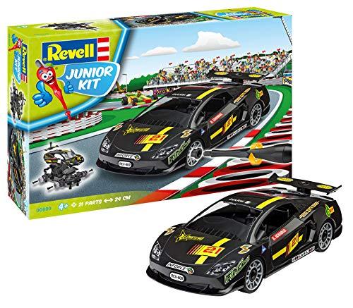 Revell Junior Kit Auto Modellbausatz für Kinder zum Schrauben, robuster Rennwagen zum Basteln und Spielen, ab 4+, kindgerecht, müheloses Verbinden weniger Teile, mit Aufklebern - RACING CAR 00809