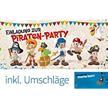 """Set: 12 Einladungskarten Kindergeburtstag """"Piraten-Party"""" (inkl. 12 Briefumschläge)   Geburtstagseinladungen Piraten Einladungen Geburtstag Party Kinder Schatzkarte Schatzsuche"""