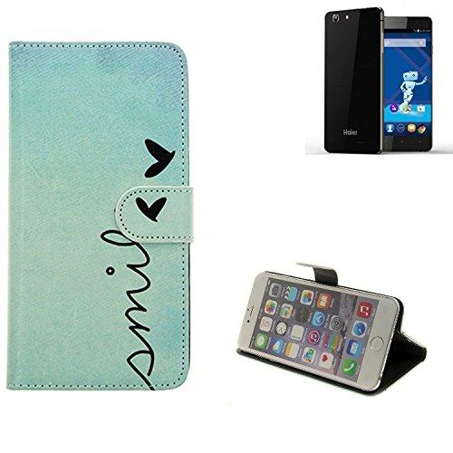 K-S-Trade® Für Haier Phone L53 Hülle Wallet Case Schutzhülle Flip Cover Tasche Bookstyle Etui Handyhülle ''Smile'' Türkis Standfunktion Kameraschutz (1Stk)