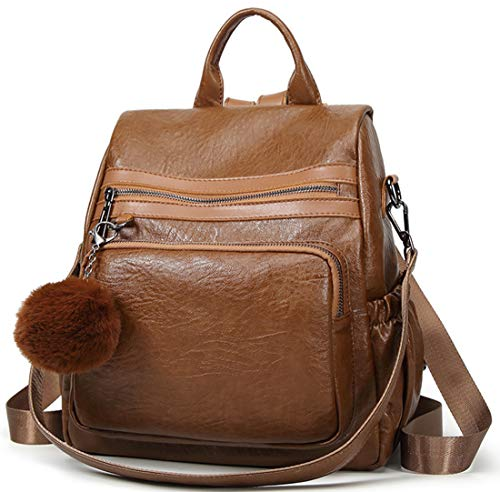 arbig Schoolbag Leder Portable Backpack Classic Leichtgewicht Tragetaschen Vintage Damen Cityrucksack Wild Messenger Bag ()