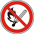 Verbotszeichen - Feuer, offenes Licht und Rauchen verboten - Ø 100 mm - 50 Verbotsschilder aus Polypropylen Folie, weiß (Aufdruckfarbe: schwarz/rot), permanent haftend