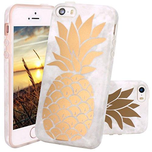 iPhone 5 Hülle, JIAXIUFEN Shiny Rose Gold Gray Marmor Serie Flexible TPU Silikon Schutz Handy Hülle Handytasche HandyHülle Etui Schale Case Cover Tasche Schutzhülle für iPhone 5 5S SE Shiny Gold Pineapple Cute