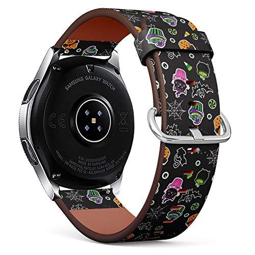 Art-Strap Kompatibel mit Samsung Galaxy Watch (46mm) - Leder-Armband Uhrenarmband Ersatzarmbänder mit Schnellverschluss (Happy Halloween Cupcakes süße Elemente)