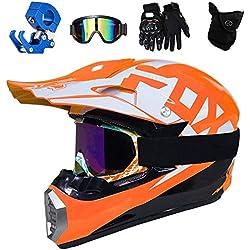 PKFG® Casque Moto Cross Orange Blanc Set, HG-05 Adulte Enfant Full Face Moto Off-Road Helmet avec Lunettes Gants Masque Crochet de Casque pour Extérieure Moto Motocross Cross VTT Sport,XL(57~59CM)