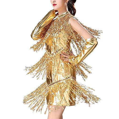 ZZBB Gold Pailletten Quaste Damen Latein Kleid Sexy V-Ausschnitt Erwachsene Wettbewerb Latin Tanzkleid,Gold,XL - Wettbewerb V-ausschnitt