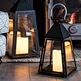 Lanterne Trapèze Gris Charbon avec Bougie LED à Piles et Anse en Métal, 40cm par Lights4fun