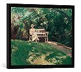 Gerahmtes Bild von Max LiebermannDie Gartenbank, Kunstdruck im hochwertigen handgefertigten Bilder-Rahmen, 70x50 cm, Schwarz matt