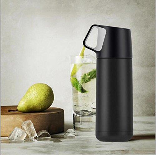 Vakuum-isolierte Edelstahl-Cup-Reisebecher 350ml (schwarz & weiß) ( Color : Black ) (Presse Und Dichtung Groß)