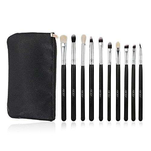 Abody 10Pcs Kit de maquillage pinceaux professionnel brosse cosmétiques manche en bois avec pochette