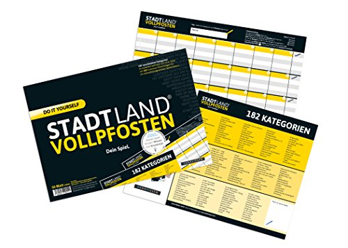 Ansicht vergrößern: DENKRIESEN Stadt Land Vollpfosten - Do it Yourself-Edition - Stadt Land Fluss neu aufgelegt für Unterwegs (Din A4-Format), Spielblock