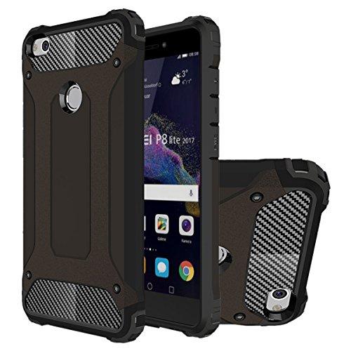 Huawei P8 Lite 2017 Funda, HICASER Híbrida Case [Heavy Duty] Rugged Armor Cover, Dual Layer Shock Resistant Carcasa para Huawei P8 Lite 2017 / Honor 8 Lite Negro