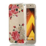Hozor Samsung Galaxy A5 2017 Hülle, Glitzer Design Muster Crystal Glänzende Soft Flex Premium TPU Silikon Durchsichtig Bumper Case Cover Dünn Schlank Handyhülle Kratzfest Schutzhülle (Rosa Rose)
