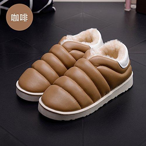 DogHaccd pantofole,Autunno Inverno slitta impermeabile coperta pantofole di cotone confezione a caldo con uomini e donne matura home soggiorno anti-slittamento pantofole spessa Il caffè3