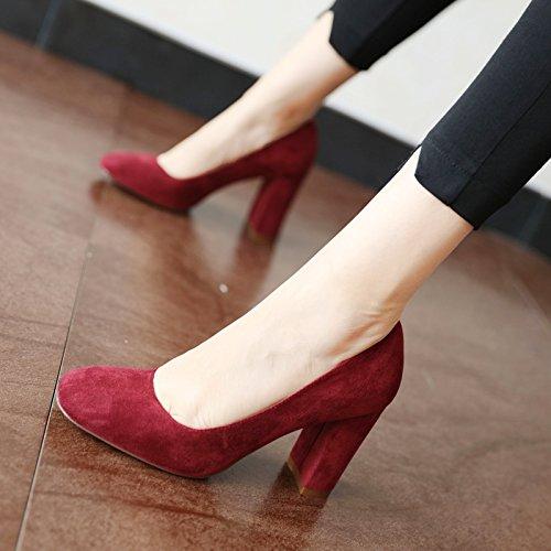 FLYRCX Primavera e autunno stagione europea di moda in pelle scamosciata semplice shallowly shallowly donne alta scarpe con tacco gules