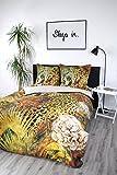 jilda-tex Bettwäsche Digitaldruck Satin 135x200 cm + 80x80 cm 100% Baumwolle Design Leopard Leopardenbettwäsche Tiger