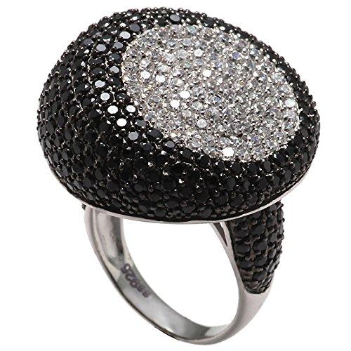 Sarah Kern Damen Ring aus 925 Sterling-Silber rhodiniert mit schwarze und weiße Zirkonia 18.1/57 mm