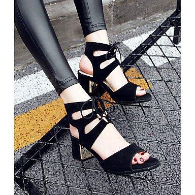 LvYuan Sandali-Ufficio e lavoro Casual Sportivo-Comoda Cinturino alla caviglia Suole leggere-Quadrato-Felpato-Nero Giallo Beige Yellow