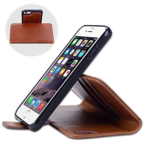 iPhone 6 Coque à Rabat SHANSHUI Housse Portefeuillle 6s en Crazy Horse PU Cuir Avec Ttrois Emplacements de Cartes RFID Protection Et Une Poche-monnaie Avec Coque Arrière Amovible (Marron) Marron