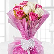 floweraura fresh flowers Bouquet of 12 Mix Roses wrapped in cellophane