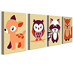 murando - Malen nach Zahlen - 4 Motive - Bilder Waldtiere 44x16.5 cm - Malset mit Holzspannrahmen - DIY - Neueste Entwicklung - Für Kinder vom 9 n-A-0169-d-i