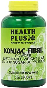 Health Plus Konjac Fibre Powder (Glucomannan) Slimming and Weight Control Supplement - 200g