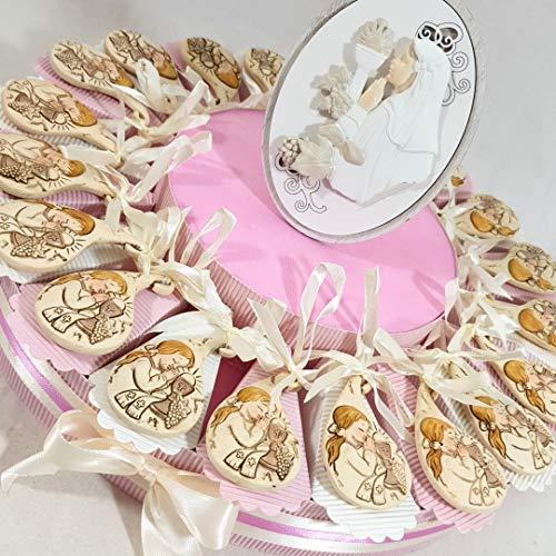 (20 bomboniere+centrale) bomboniere sacre comunione femmina statuetta bambina in preghiera e bimba centrale confetti inclusi