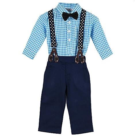 Balai bébé garçons 2PCS Set Tie Bleu plaid chemise à manches longues + salopette Noir enfant de vêtements 0-24mois
