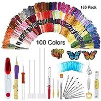 Juego de bolígrafo mágico para bordar, 136 piezas de aguja de punzón con 100 hilos de colores, herramienta de bordado, juego de bolígrafos, hilos para costura, tejer, bricolaje, enhebradores